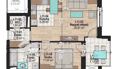 Eladó Lakás, Zala megye, Zalaegerszeg, I. emeleti 50 m2-es, 7m2-es terasszal