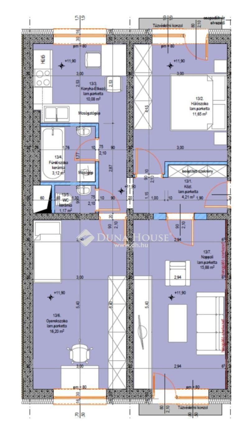 Eladó Lakás, Bács-Kiskun megye, Kecskemét, Újszerű 3 szobás lakás - 4. emelet