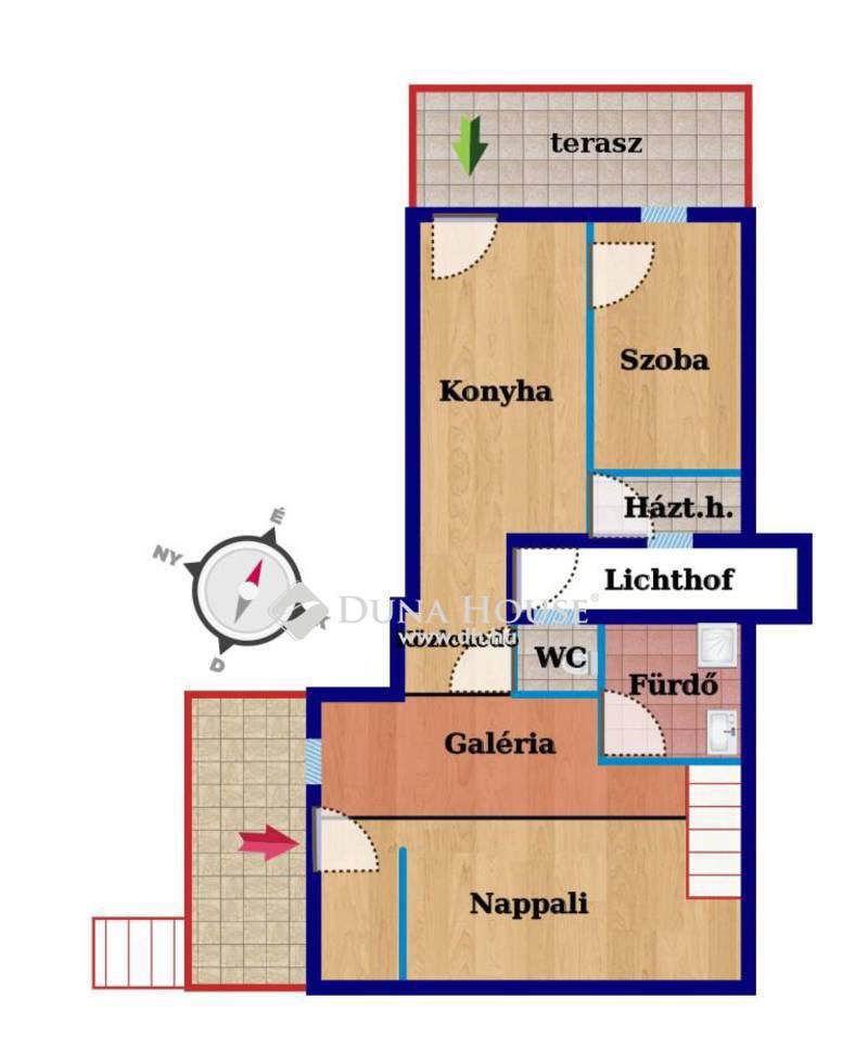 Eladó Lakás, Budapest, 13 kerület, Vígszínház mellett felújított, teraszos két szobás